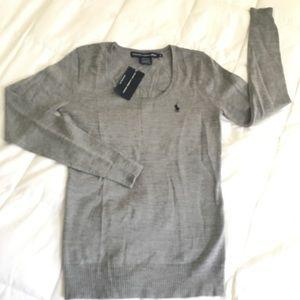 RL Sport Gray Wool Long Sleeve Sweater
